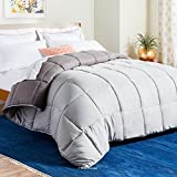 LINENSPA Reversible Down Alternative Quilted Comforter with Corner Duvet Tabs - Stone/Charcoal - Twin