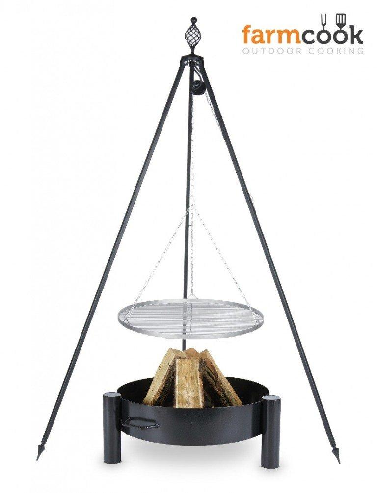 Dreibein Grill OSKAR Höhe 210cm + Grillrost aus Edelstahl Durchmesser 70cm + Feuerschale Pan34 Länge 70cm Breite 70cm günstig