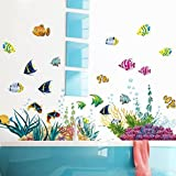 Amaonm? Removable DIY Under The Sea Wall Decals Blue Grass And Fish Coral Wall Mural Multicolored Wall Stickers...