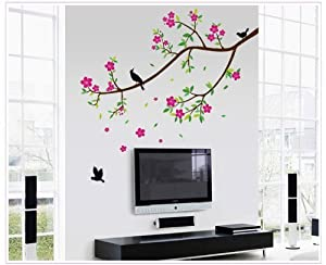 Tarmader Brown Branch Tree with Red Flowers Green Leaves and Birds Wall Mural Decal Decor Sticker