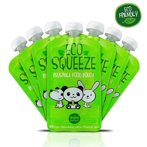 Reusable Refillable Food Pouch (8 Pack). Easy to Clean And Fill With No Leaks. Great For Homemade Organic Baby or Toddler Snacks. BPA and PVC Free. Child Lunchbox Friendly (Reusable Food Pouches Baby compare prices)