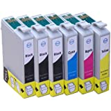 6x Inks - 1x Set of T1295 plus 2x extra T1291 Black Epson Compatible Ink Cartridges (with chip that will display ink levels). Full set (Apple) includes 3x T1291 Black 1x T1292 Cyan 1x T1293 Magenta 1x T1294 Yellow Inkjet Cartridges.