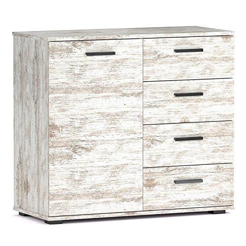 Shabby-Chic-Kommode-Sideboard-CHICAGO-mit-Tr-und-4-Schubladen-91x82x40-cm