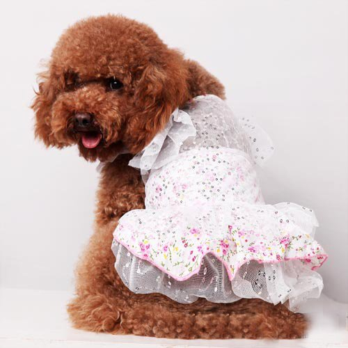 New - Princess' Sleeve Wedding Dress Style for Cute Dog's Clothing by CET Domain