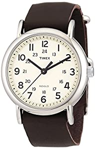 Timex T2N893D7 - Reloj analógico de cuarzo unisex con correa de piel, color marrón por Timex