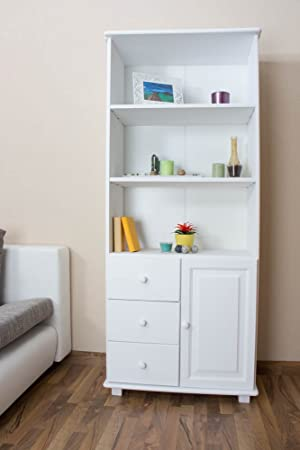 Tall 190cm Standard Bookcase B002, 3 Drawer, solid pine wood, white - H190 x W80 x D42 cm