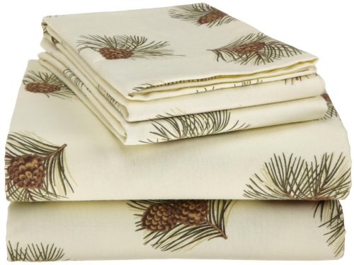 Pinzon 160-Gram Printed Cotton Flannel King Sheet Set, Pine Cones