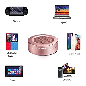 LENRUE Bluetooth Speakers, Portable Wireless Mini Speaker with Handsfree Call, Built-in-Mic and TF Card for iPhone, iPod, iPad, Phones, Tablet, Echo dot, Good Gift (Rose Gold)
