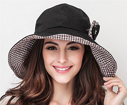 UVカット帽子 つば広 レディース ブラック 強い紫外線も強力カット 多機能