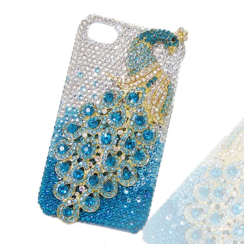 Great Price Luxury Valentine's Gift Peacock Peafowl Case Cover Shell For iPhone 5 with Blue Swarovski Elements Crystal