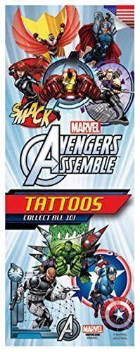 Marvel Avengers Temporary Tattoos (Set of 10 Sheets)(Includes Iron Man, Hulk, Thor, Captain America, Hawkeye, Nick Fury, and more) - 1
