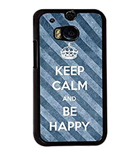 Fuson Premium 2D Back Case Cover Be happy With White Background Degined For HTC One M8::HTC M8
