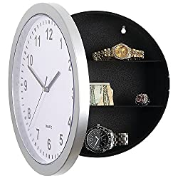 Wall Clock Hidden Safe Discreetly Conceals Hinged Compartment - 3 Shelves