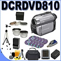 Sony Handycam Hybrid DCR-DVD810 DVD Camcorder w/ 25x Optical Zoom PLUS Quick Rapid External Charger + Extra Battery, 3pc Filter Kit - 0.45x Wide Angle Lens, 2x Telephoto Lens + MORE! DCRDVD810 BigVALUEInc Accessory Super Saver Bundle - Brand New USA!
