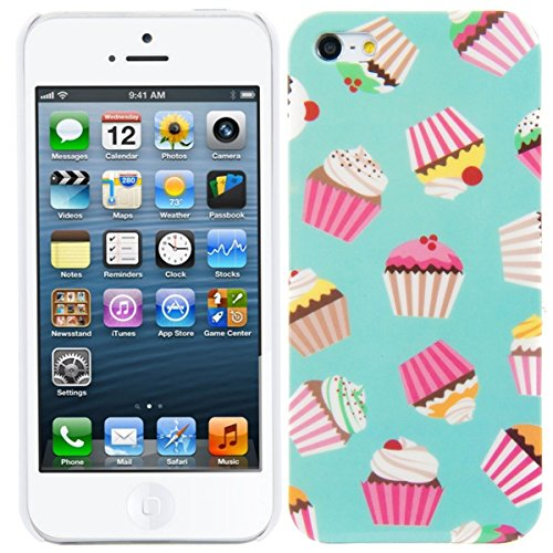 kwmobile Hard case Design cupcake pattern for Apple iPhone SE / 5 / 5S in dark pink white mint
