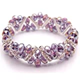 Bleek2Sheek Amethyst Purple Crystal and Rhinestone Stretch Bracelet
