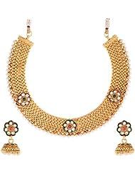 Zeneme Jhumki White Pearl Jewellery Set / Necklace Set For Women / Girls