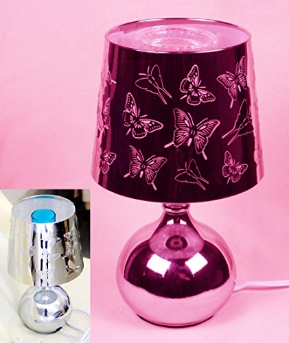 Gmt6 Stainless Steel Electric Oil Burnner, Hollow Out Butterfly Pattern ,Finger Touch Dimmer,With 1 Oz Random Fragrant Oil