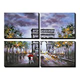Asmork Modern Art - 4 Piece Wall Art Canvas Landscape Painting - Home Decor Canvas Print Ready to Hang - Oil Paintings - Best Buy Gift - Triumphal Arch