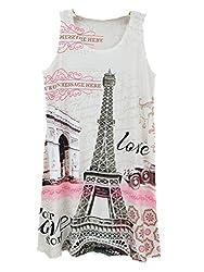 YICHUN Women Summer Short Mini Dress Sleeveless Long Tops T-Shirt Printed Tanks Vest Casual