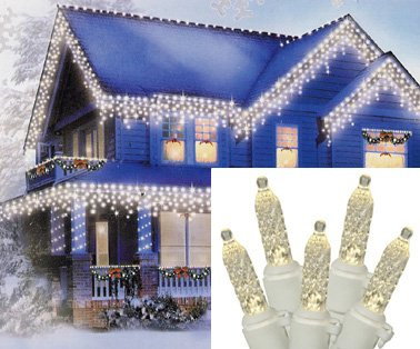 Set Of 70 Warm Clear Led M5 Icicle Christmas Lights - White Wire