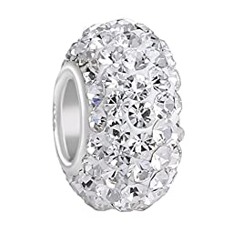 BoRuo Charms 925 Sterling Silver Czech Crystal White Ball Beads Spacers April Birthstone Top Quality Solid Core Charm Fit Pandora Bracelets.