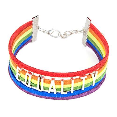 """ISHOW LGBT Arcobaleno Multicolore """"parità in similpelle scamosciata corda intrecciato Lesbiche Gay Strand Bracciale per uomo e donna"""