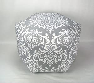 "24"" Floor Ottoman Pouf Pillow, Gray White Damask"