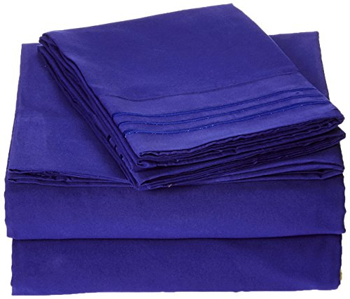 Elegant Comfort 1500 Thread Count Egyptian Quality 4-Piece Bed Sheet Sets with Deep Pockets, Full, Royal Blue (Royal Blue Bed Sheets compare prices)