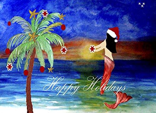 Santa Mermaid Trim a Tree Christmas 5'x7'area Rug From Art
