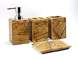 4-Piece set of Natural Marble Stone made Bathroom Set Accessories with Soap Dispenser, Soap Dish , Toothbrush and Toothpaste holder