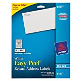 Avery Easy Peel Return Address Labels for Inkjet Printers, 0.5 x 1.75 Inches, White, Pack of 2000 (08167)
