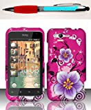 Accessory Factory(TM) Bundle (the item, 2in1 Stylus Point Pen) For HTC Rhyme Bliss 6330 (Verizon) Rubberized Design Case Cover Protector - Hibiscus Flowers