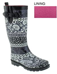 Capelli New York Floral Montage Printed Ladies Tall Rubber Rain Boot