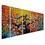 Gigantic Tree of Life Metal Wall Art Decor - Large Abstract Artwork Set of 6 Panels - 65