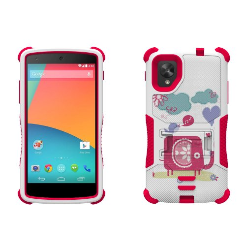 Beyond Cell Tri-Shield Durable Hybrid Hard Shell & Silicone Gel Case For Lg Nexus 5 - Elephant & Singing Bird - White/Pink