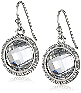 """1928 Jewelry """"Basic Classics"""" Silver-Tone Crystal Round Faceted Drop Earrings"""