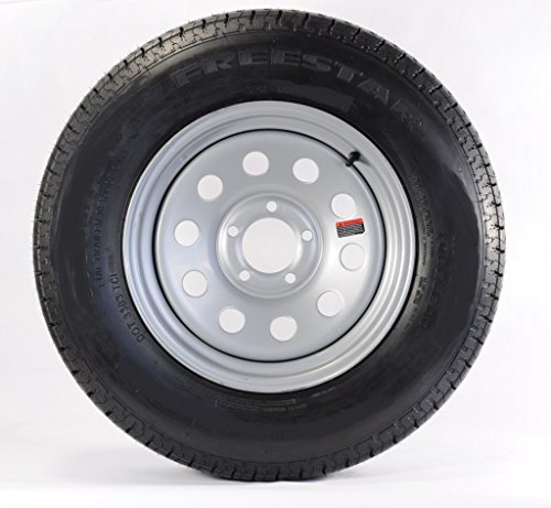 Two Trailer Tires & Rims ST205/75D15 F78-15 205/75-15 C 5 Lug Gray Grey Modular (Boat Trailer Wheels 15 Inch compare prices)