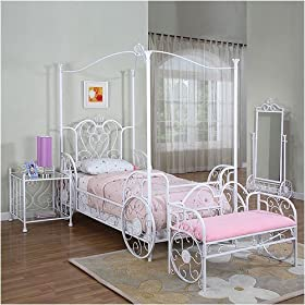 Powell Furniture Princess Emily Twin Size Carriage Canopy Bedroom Set in White