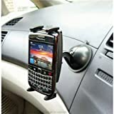ZS Multi Surface Suction Car Dashboard Mount with Slim-Grip Universal Holder fits Blackberry Bold 9780 smartphone