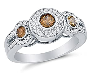 Size 8.25 - 10K White Gold Chocolate Brown & White Round Diamond Halo Circle Engagement Ring - Prong Set Three Stone Center Setting Shape with Channel Set Side Stones (4/5 cttw.)