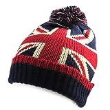 Les Trésors De Lily [N0362] - Bonnet tricot 'So British' rouge bleu (Union Jack)...
