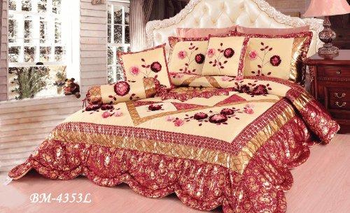 Tache 6 Piece Floral Red Rose Garden Patchwork Comforter Quilt Set, King