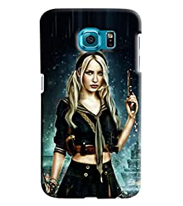 Blue Throat Girl Carrying War Weapons Printed Designer Back Cover For Samsung Galaxy S6 Edge