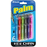 Bazic Palm Mini Ballpoint Pen with Key Ring, Assorted, Pack of 6