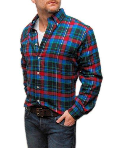 Polo Ralph Lauren Men Vintage Flannel Plaid Shirt Black Blue Green Red Large front-1045533