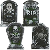 "10.25"" x 15"" Polyfoam RIP Graveyard Tombstone Halloween Decorations RIP (Pack of 4) from Greenbrier"