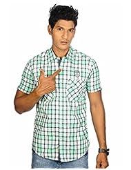 Twills Premium Men's Cotton Checks Shirt Green