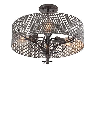 Varaluz Treefold 3-Light Ceiling Fixture, Steel With Recycled Steel Mesh