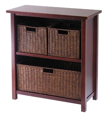 3-Tier Storage Shelf with 3 Baskets - Walnut